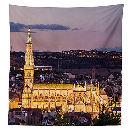 Wanderlust Decor Tablecloth Dusk as the Flood Lights Are Illuminated on Cathedral in Ancient City of Toledo Spain Dining Room Kitchen Rectangular Table Cover - 52w Floodlight