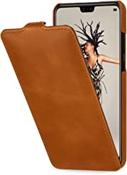StilGut UltraSlim Case, Custodia Flip Case per Huawei P20 in Vera Pelle con Funzione on/off, Cognac