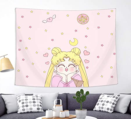Amazon Com Japanese Anime Sailor Moon Tapestry Wall Hanging Girls Home Decorations For Living Room Bedroom Dorm Pink 50 X 60 Everything Else