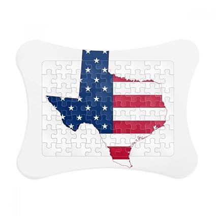 Amazon.com: Texas USA Map Stars Stripes Flag Shape Paper Card Puzzle ...