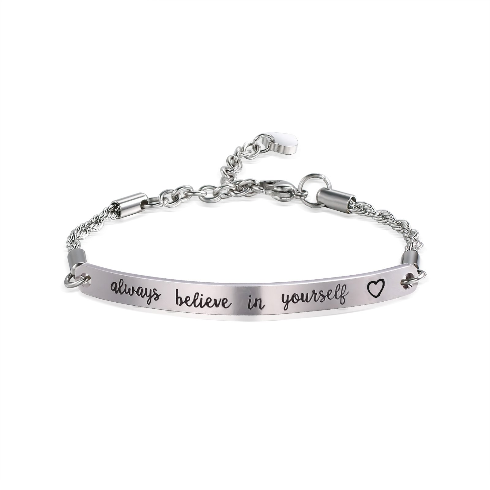 ivyAnan Inspirational Engraved Bracelet''always believe in yourself'' Quote Bar Bracelet for women, girls, friendship, gift jewlery (Silver-always believe in yourself)