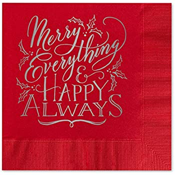 Merry Everything Beverage Cocktail Napkins - Set of 25 holiday red paper napkins with silver foil