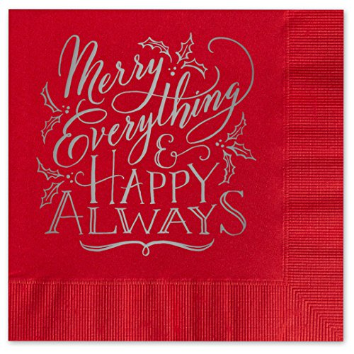 Canopy Street Merry Everything Beverage Cocktail Napkins - Set of 25 Holiday red Paper Napkins with Silver foil