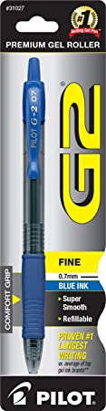Pilot G2 Retractable Premium Gel Ink Roller Ball Pen, Fine Point, Single Pen, Blue Ink (31027) <span at amazon