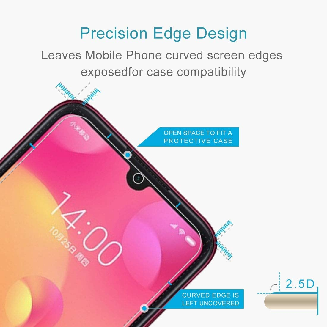 ProtectoresYHM 100 PCS 0.26mm 9H 2.5D Tempered Glass Film for Mi Play