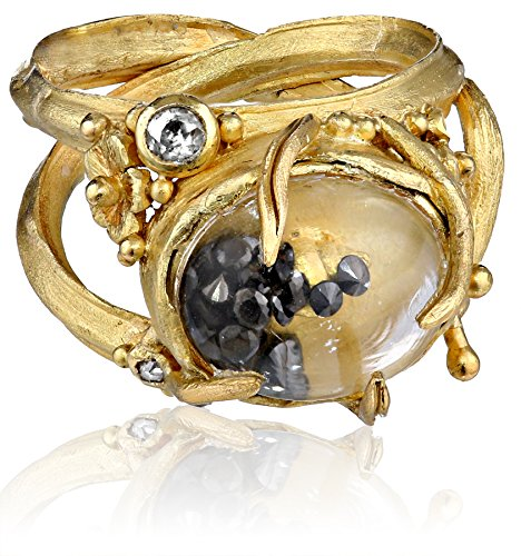 "Vibes ""Whimsical"" 18 Karat Gold Large Rock Crystal and Black Diamond Ring, Size 6"