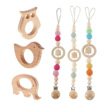 Schön Perlen Silikon Holz Baby Kleinkinder Beißring Toy Schnuller Clip Kette