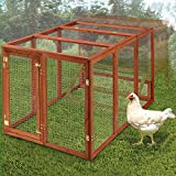 B&P Natural Wooden Large Rabbit Hutch - Ferrets House Guinea pig Cage Small Pet House Chicken Coop Indoor/Outdoor Use (XXL, Pet Fance)