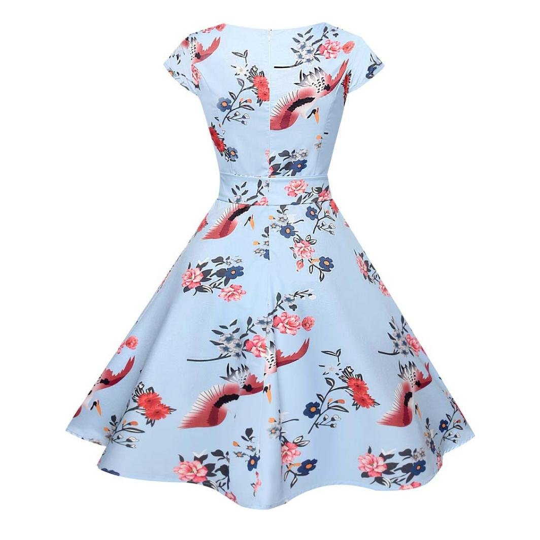 MRULIC Frauen Vintage Bodycon Kurzarm Casual Retro Abend Party Prom Swing Kleid