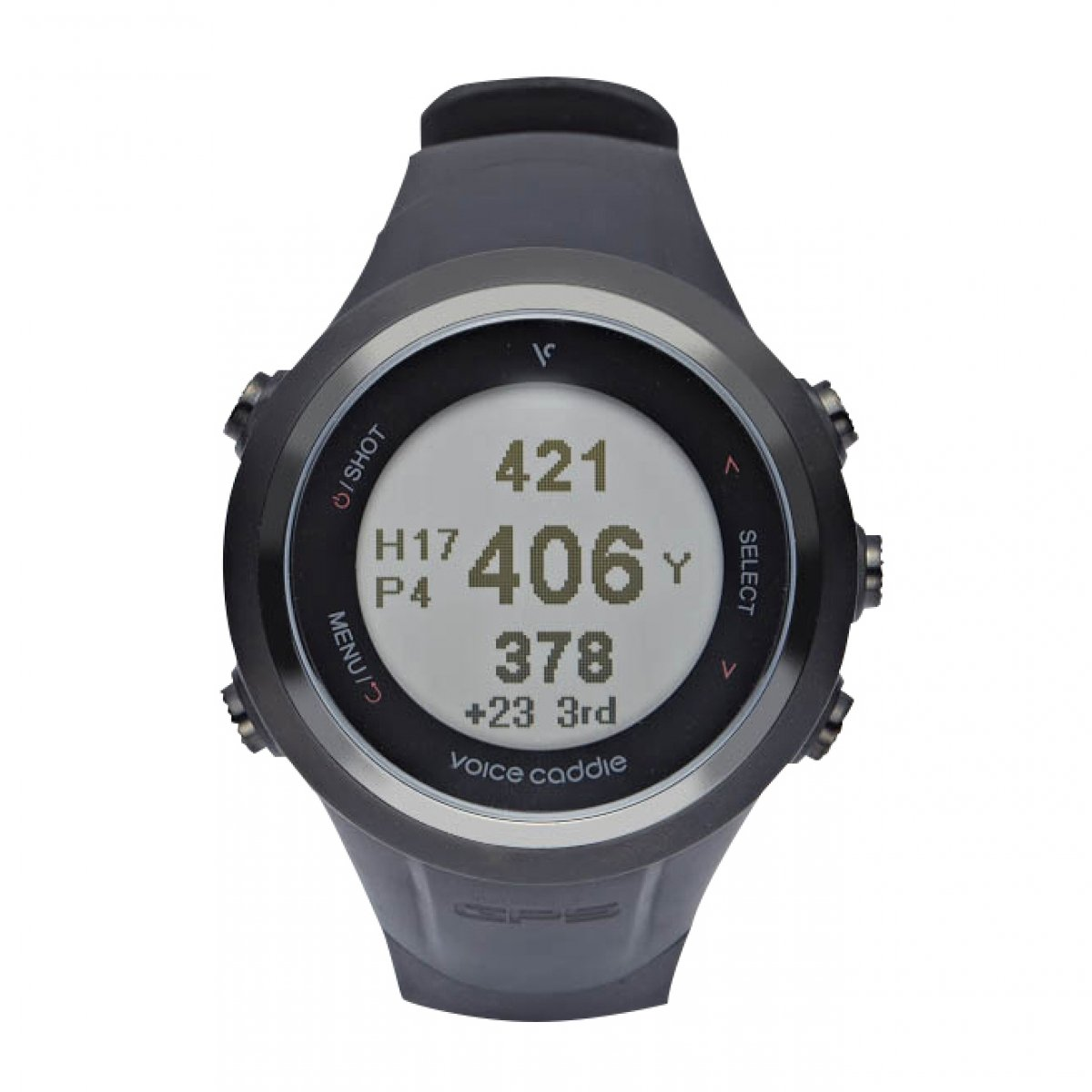 Voice Caddie T-2BK Hybrid Golf GPS Watch with Digital scorecard- Black