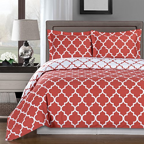 Reversible Meridian Comforter Set, Elegant and Contemporary Bedding, 100% Egyptian Cotton 300 Thread Count, 4 Piece King/California King Size Comforter Set, Coral and White