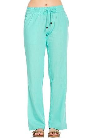 Poplooks Women's Junior Comfy Drawstring Linen Pants at Amazon ...