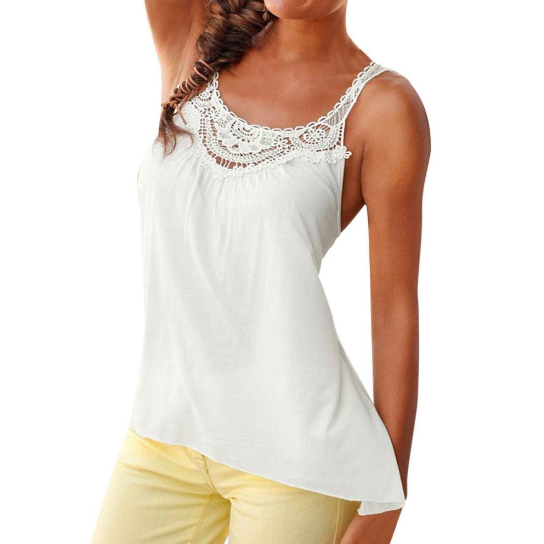 MRULIC Frauen Casual Spitze Sleeveless Crop Top Sommer Kleine weiße Weste Tank Shirt Bluse Cami Tops