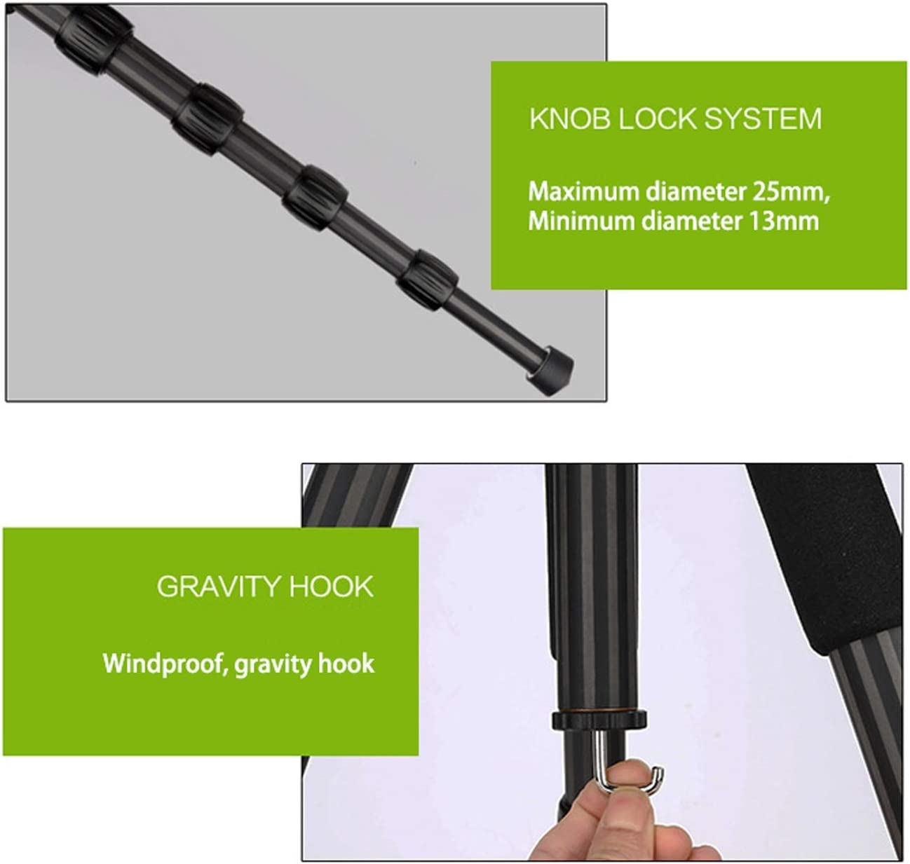 LLluckyHW Action Camera Selfie Stick 360 Degree Panorama Ball Head Bubble Level Enhanced Twist-Lock Cameras Up to 33 Pounds Color : Black