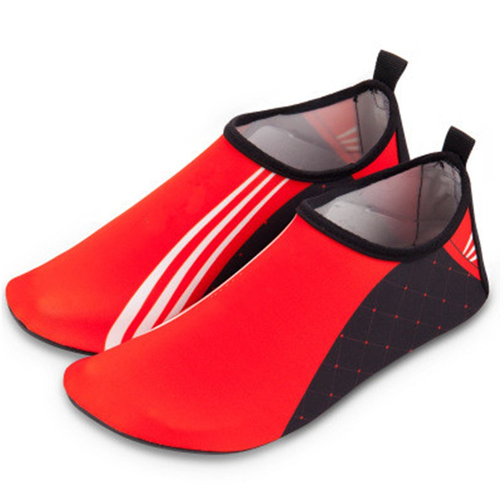 edv0d2v266 Kids Water Shoes Barefoot Boy and Girls Quick Dry Aqua Socks Shoes for Park Lawn Pool Dance (Red 37/5 M US Big Kid)