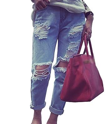 Guiran Damen Boyfriend Ripped Jeans Zerrissen Jeanshose mit Löcher Basic  Denim Hosen XL 9e53d42b4b