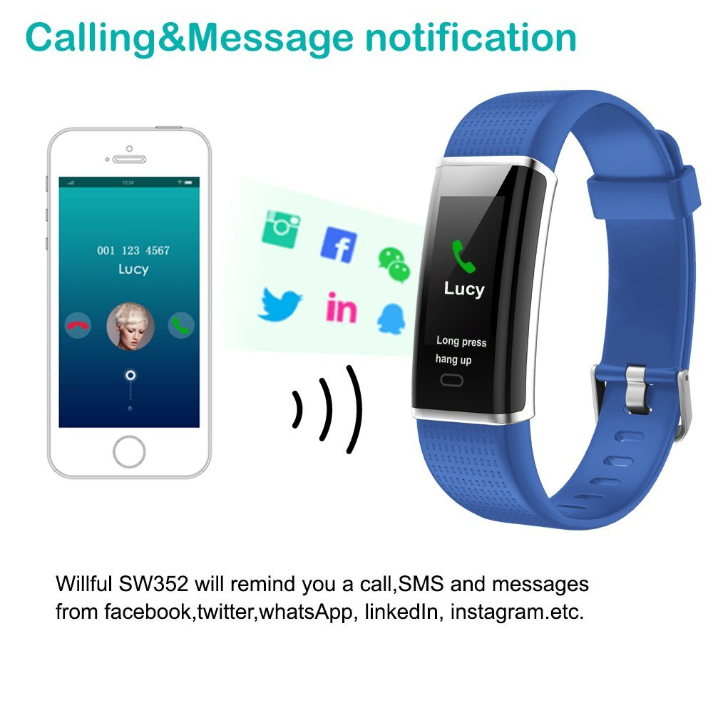 Willful Fitness Tracker, Heart Rate Monitor Fitness Watch Activity Tracker(14 Modes) Pedometer with Step Counter Sleep Monitor Call SMS SNS Notice for Women Men Kids (Color Screen,IP68 Waterproof) by Willful (Image #6)