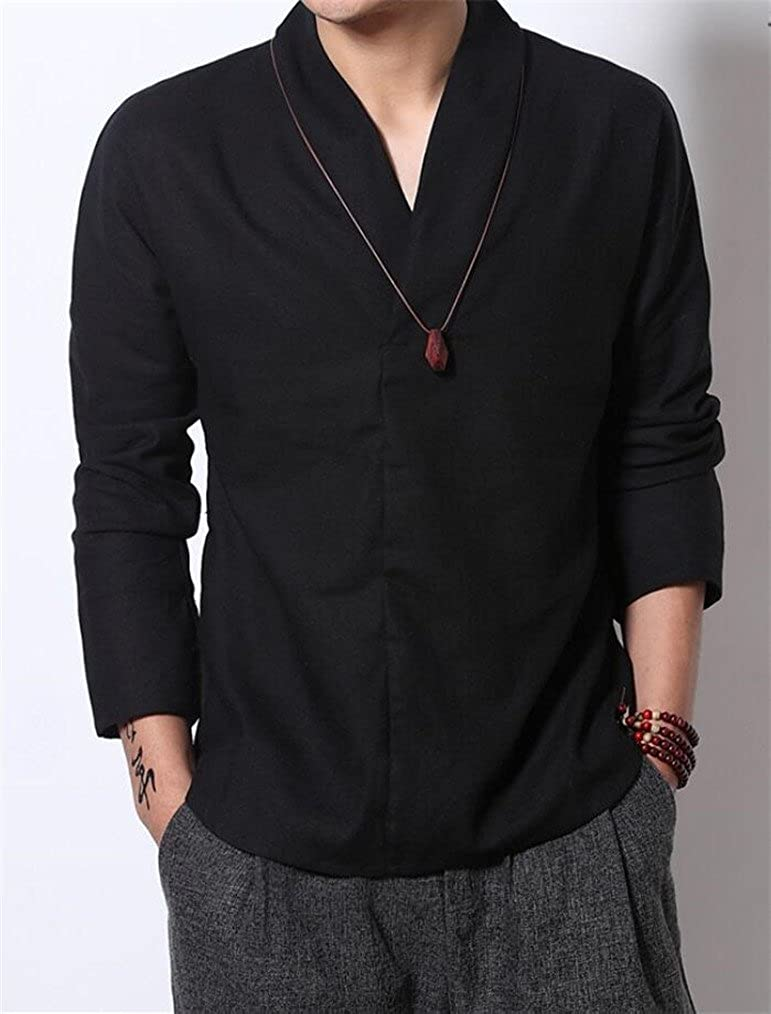 Bstge Mens Casual Long Sleeve Banded Collar Linen Shirts