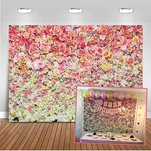 Mocsicka Flower Wall Backdrop 7x5ft Rose Wall Bridal Shower Photo Booth Backdrops Valentine's Day Newborn Baby,Baby Shower Photography Background