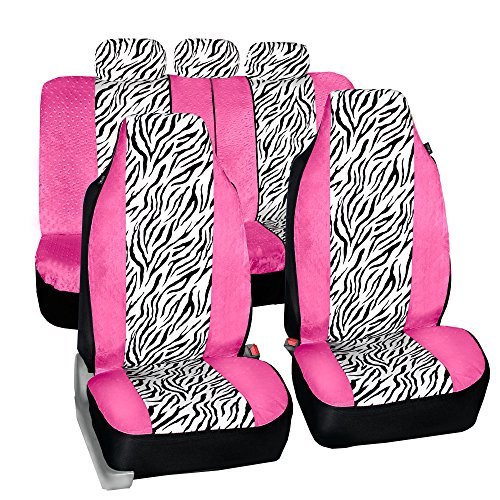 FH-FB121115 Zebra Prints Car Seat Covers, Airbag ready and Split Bench, Pink / White color (Covers Zebra White Seat Car)