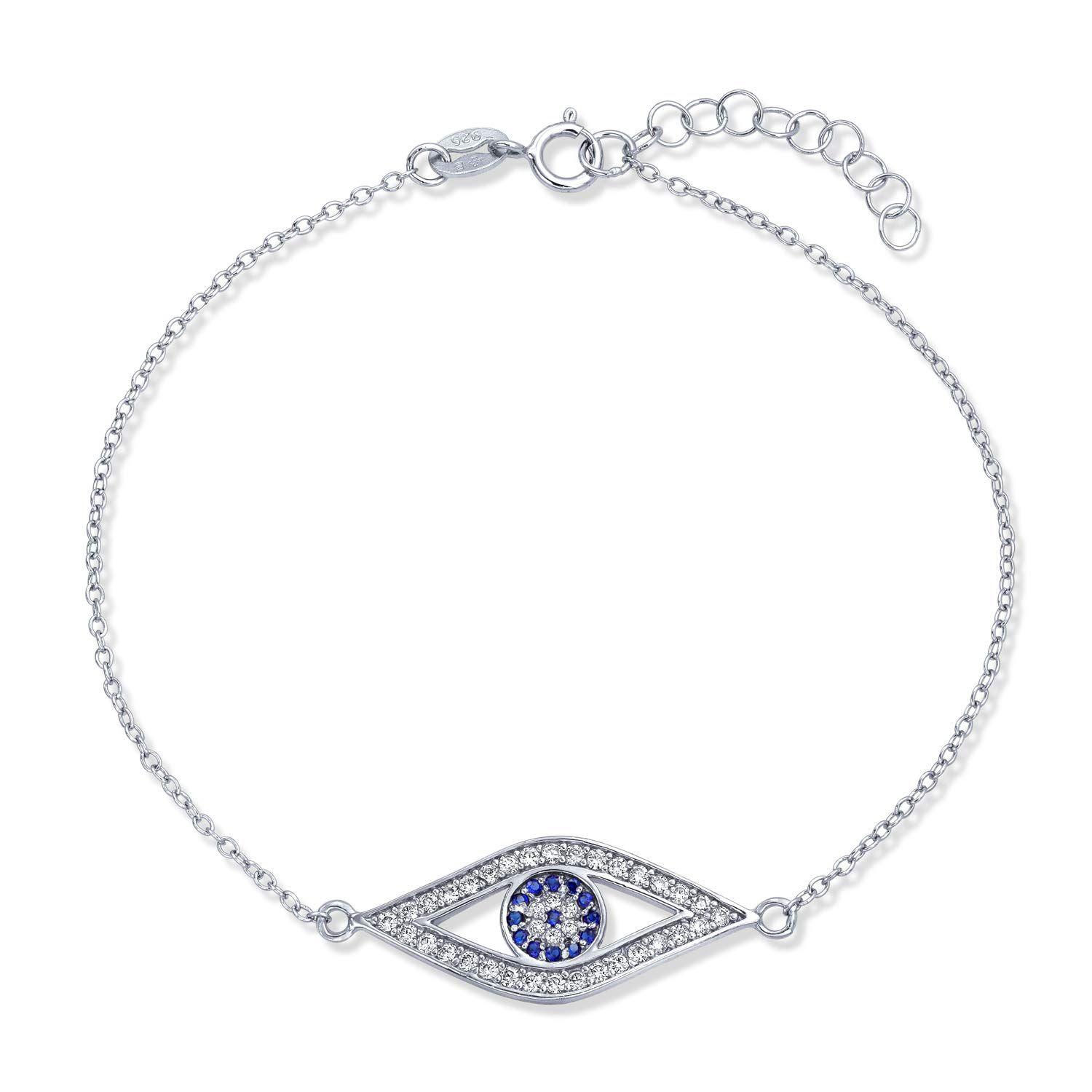 Evil Eye Charm Link Bracelet Simulated Sapphire Clear CZ Filigree Sterling Silver 7 to 8 inch with Extender Bling Jewelry BS-EVLC-S