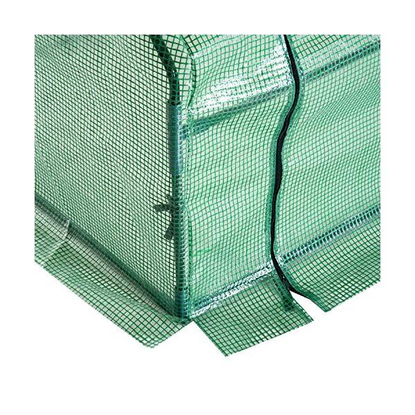 Outsunny Serra da giardino a tunnel in PE telaio in acciaio 270x90x90cm verde trasparente 6 spesavip