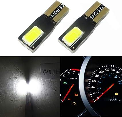 WLJH 2pcs T5 cuña LED Bombillas 2-SMD 5630 100 lúmenes 6000 K Blanco 286 2721 Automotive coche luces bombilla salpicadero Indicador Luz Velocímetro Gauge Cluster lámpara Dash luz