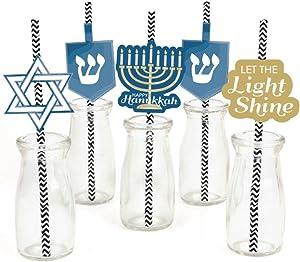 Happy Hanukkah Paper Straw Decor - Chanukah Party Striped Decorative Straws - Set of 24