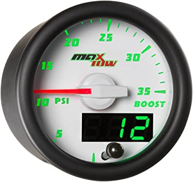 Analog /& Digital Readouts 2-1//16 52mm Includes Electronic Pressure Sensor Black Gauge Face MaxTow Double Vision 35 PSI Turbo Boost Gauge Kit Green LED Illuminated Dial for Trucks