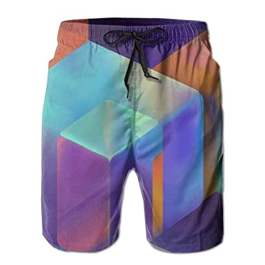 WZnWei Trippy Acid Cubs Casual Mens Shorts Beach Swim Trunk Summer