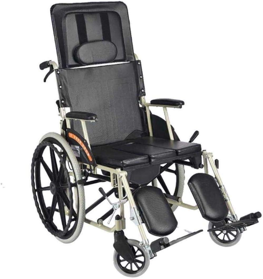 Andador para ancianos Portátil con silla de ruedas sillas de ruedas Travel Silla reclinable completa Luz plegable de aluminio de aleación de transporte de ancianos vagoneta motriz Andadores para disca