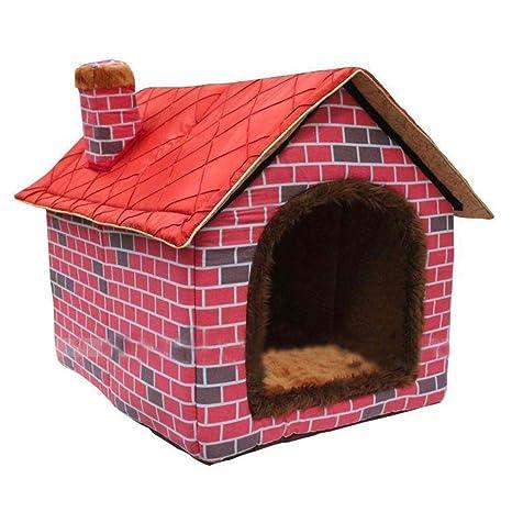 ushang interior suave cálido perro de mascota de la perrera, Gran Casa rojo