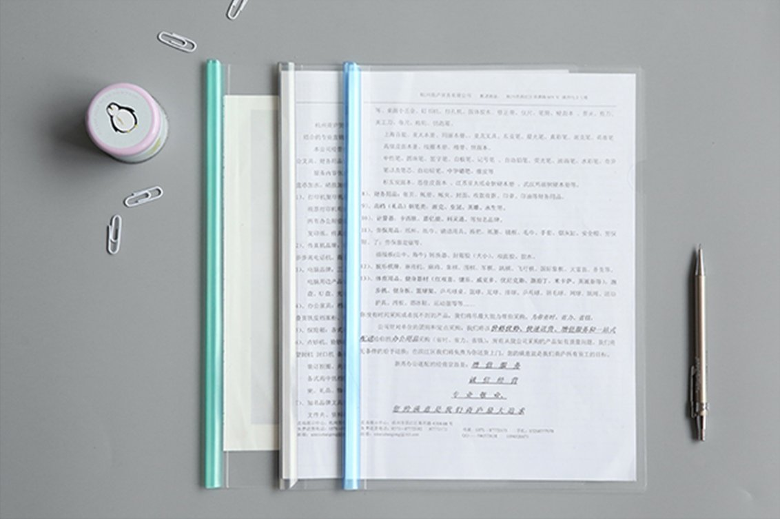 Transparent Plastic File Folder Sliding Bar Report Covers (with U-type Sliding Bar,40 sheet cap), Transparent Resume Presentation File Folders Organizer Binder For A4 Size Paper, 5 Color 20 Pieces