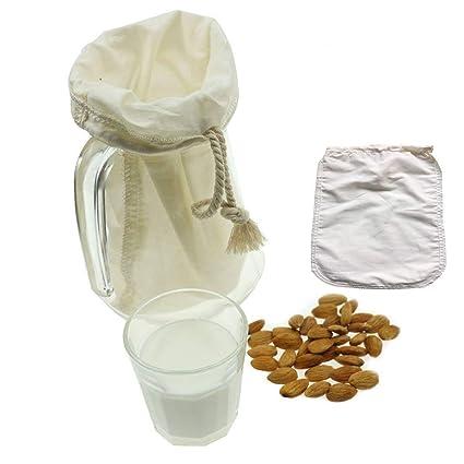 OldPAPA Filtro de Algodón orgánico para zumos y Batidos, para Leche de almendras, Reutilizable