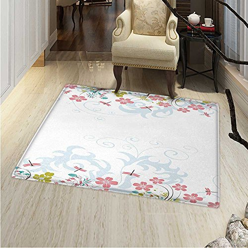 (Dragonfly Rugs for Bedroom Vivid Spring Branches Bunch of Blooms Tree Curling Leaf Artwork Circle Rugs for Living Room 40