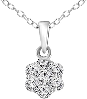 Amazon Com Friendly Diamonds 925s 1 2 Carat Diamond Pendant Igi Certified 925 Sterling Silver Lab Grown Diamond Pendants Necklaces For Womens Lab Created Diamond 7 Stone Pendant For Women With Silver Chain Jewelry