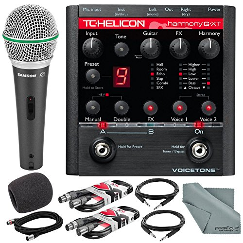 (TC-Helicon VoiceTone Harmony-G XT Guitar & Vocal Harmony Pedal and Deluxe Accessory Bundle w/Samson Q6 Mic + Fibertique Cloth + 3X XLR Cable + 2X 1/4