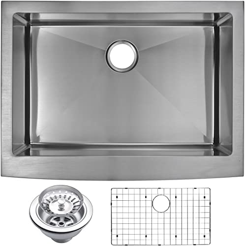 Water Creation SSSG-AS-3022B 30 X 22 15 mm Corner Radius Single Bowl Stainless Steel Hand Made Apron Front Kitchen Sink with Drain and Strainer