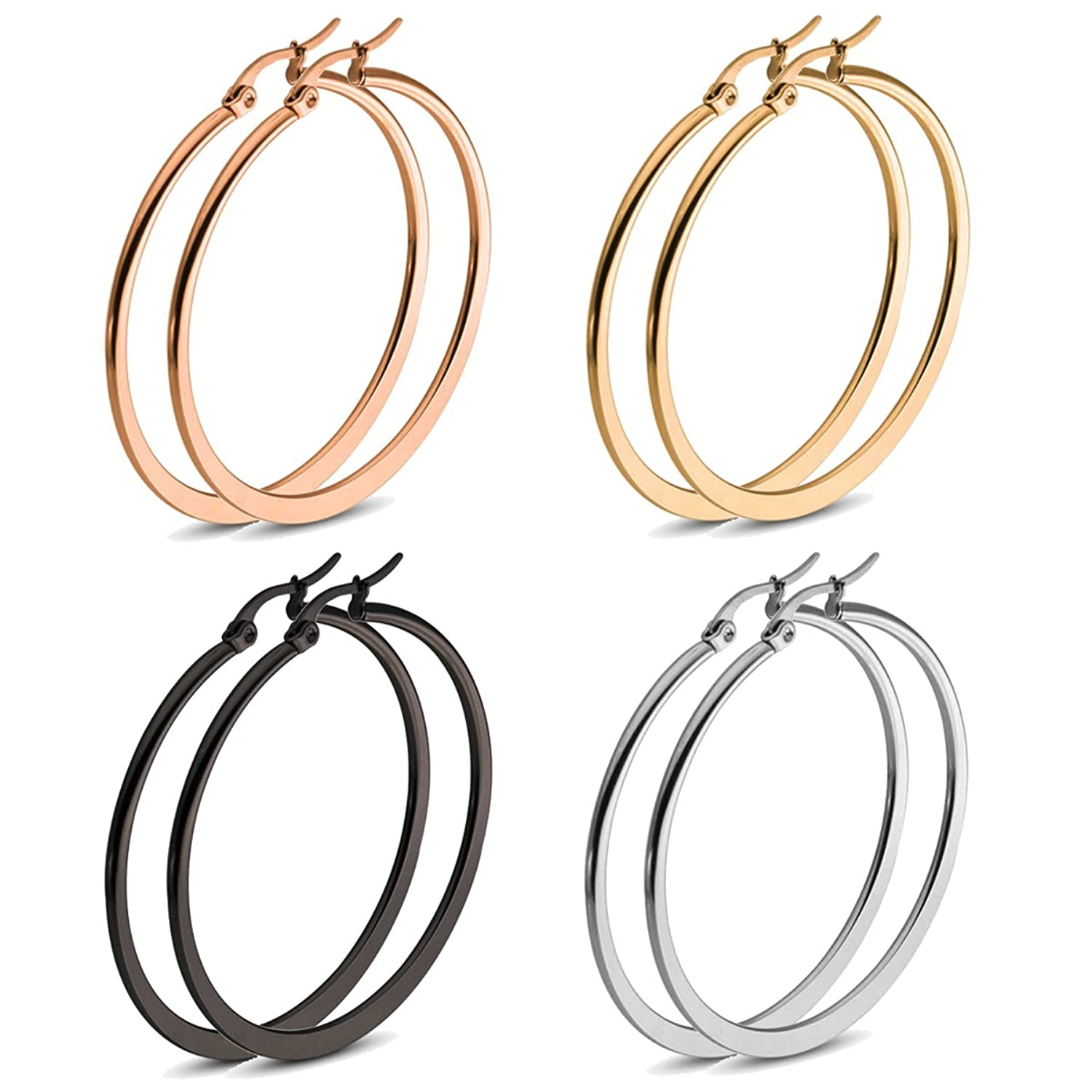 ALoveSoul Hypoallergenic Gold Hoop Earrings - Include Silver Rose-gold and Black Flattened Endless Hoops for Women 4 Pairs Set