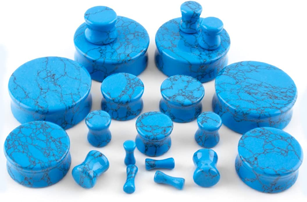 Sizes // Gauges 00G - 32mm Turquoise Stone Ear Tunnels Plugs - Double Flared
