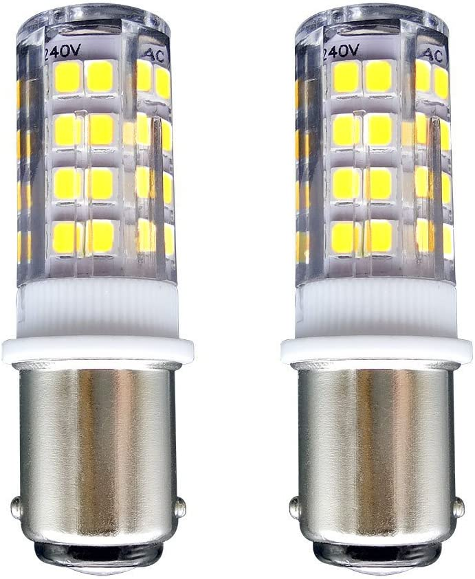 B15 Bombilla[2 unidades]SFTlite SBC Ba15D 4W LED Bombilla Blanco Fresco 6000K–400 Lúmenes–Equivalente a lámpara Halógena de 35W Doble Bayoneta B15 LED Luz para Máquina de Coser/Aparato Lámparas