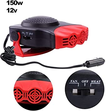 Regun Car Fan Heater 150W 12V 2 In1 Car Truck Heating Cooling Fan Heater Windscreen Demister Defroster
