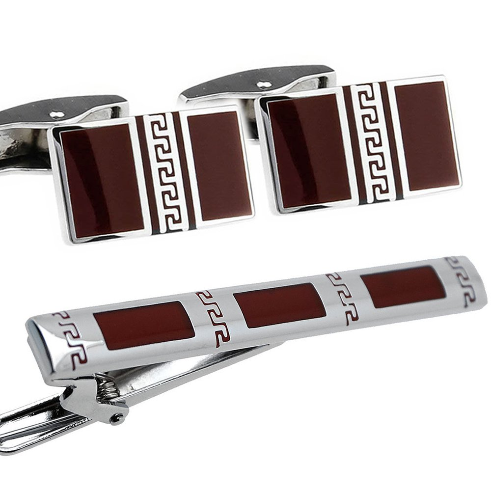 Burgundy and Silver Cufflinks and Tie Clip Set