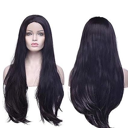Lace Front Wig Pelucas Rizadas Largas Pelo Sintético Peluca de Encaje  Frontal Se Ven Naturales para 7d029bfb7d17