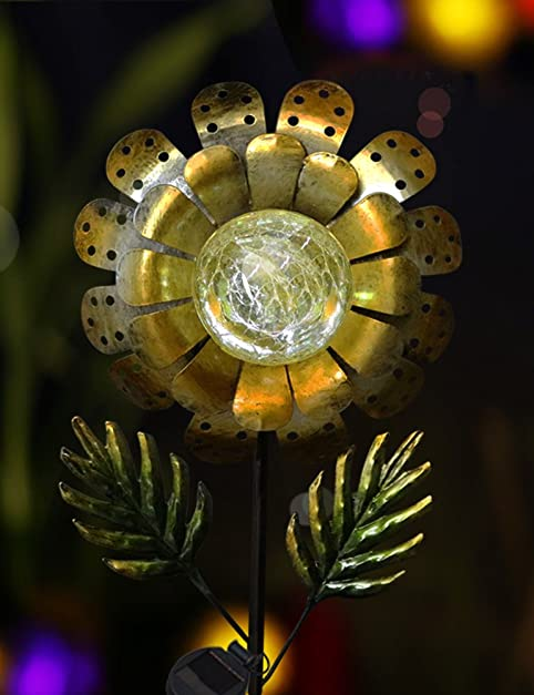 Bright zeal 8 large metal golden sunflower led crackle glass solar bright zeal 8quot large metal golden sunflower led crackle glass solar lights outdoor solar workwithnaturefo