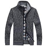 PUTAOJIAZI Autumn Winter Warm Cashmere Wool Zipper Pullover Sweaters Man Casual Knitwear Gray M