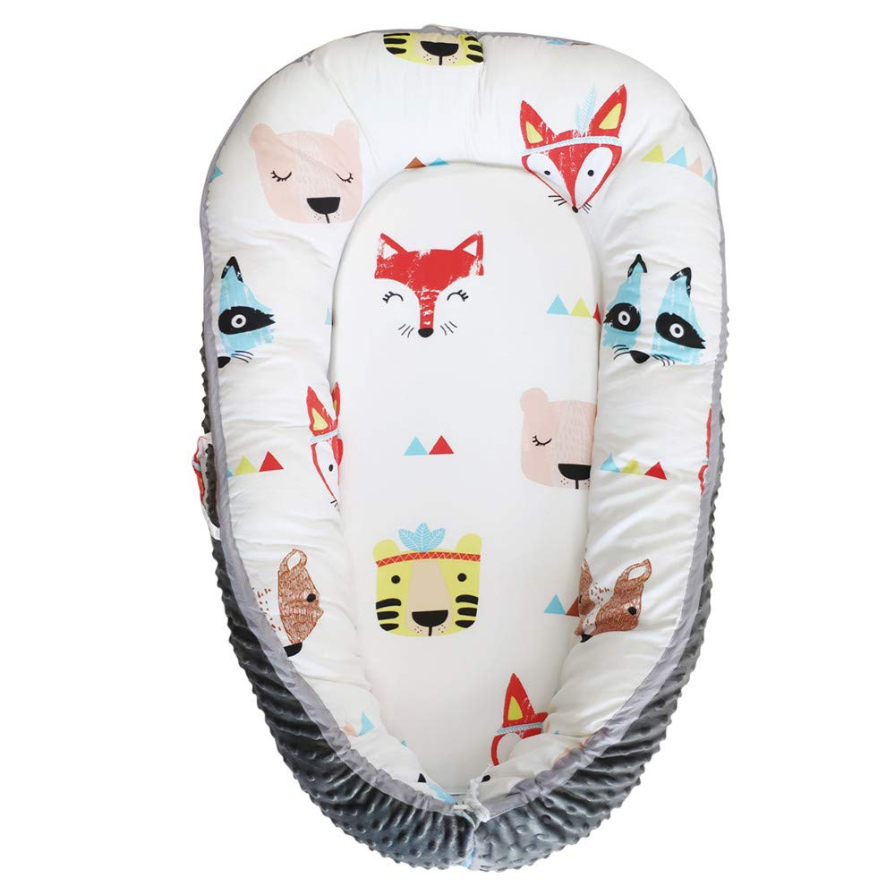 Abreeze Red Fox Baby Lounger, Baby Nest Portable Super Soft Organic Cotton and Breathable Newborn Lounger Baby Snuggle Nest Sponge Bottom- Perfect for Co-Sleeping 0-24Months by Abreeze