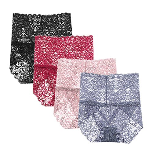 - Femaroly Women Sexy Lace Underwear High Waist Tummy Control Panties Briefs(Pack of 4) Black/Purple/Gray/Red US L=Hip:39