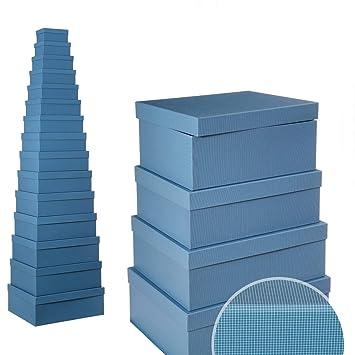 Cajas Azules de cartón Multiusos clásica para decoración Basic - LOLAhome: Amazon.es: Hogar