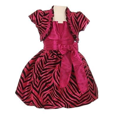 Big Girls Fuchsia Zebra Stripe Ribbon Tie Bolero Taffeta Christmas Dress 8 7780400dc
